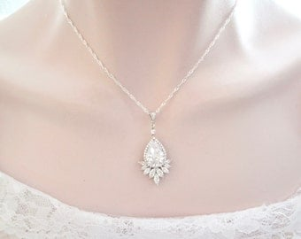 Brides necklace- Cubic zirconia necklace - Sparkling Brilliance - Elegant - Long, Wedding necklace - High quality, Brides jewelry ~ LILLY