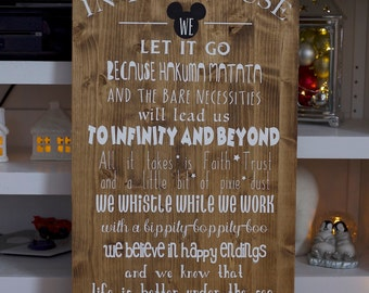 In this house/we do disney/disney sign/disney decor
