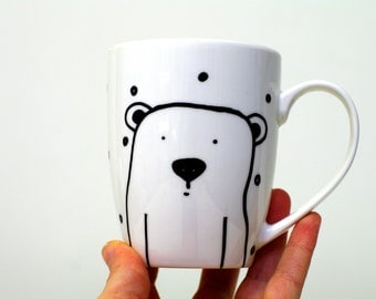 Polar bear mug Illustration Polar bear cup Coffee mug Animal mugs Polar bear gift Childs cup Tea cup Kitchen art mug Ours