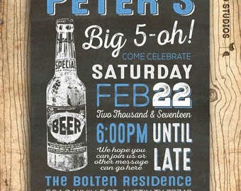 50th birthday invitation for men - cheers & beers 50th birthday invitation  - 50th beer invitation - Surprise party - Chalkboard u print