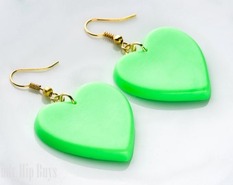 Heart Earrings, Neon Green Earrings, Green Heart Earrings, Green Dangle earrings,Heart Dangle Earrings,Heartshaped earrings,Handmade
