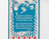 Scarlet coquelicots affiche impression: Grand mur oiseau Art Art Print linogravure impression cuisine Art poésie impression Nature Art Poster Art cuisine décoration murale