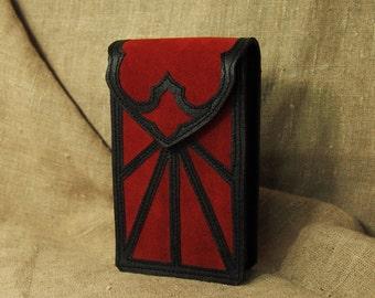 Leather double-sided Tarot   Case /Red-black tarot pouch / tarot bag - / - illuminati