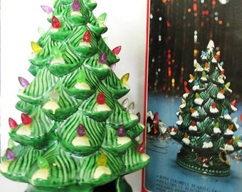 SALE Vintage Ceramic Tree 1970s Lighted Christmas Decoration 13 inches tall with Original Box