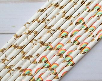 Unicorn and Rainbow Paper Straws, Unicorn Party Straws, Rainbow Straws, Girl Birthday Decorations, Drinking Straws, Cake Pop Sticks