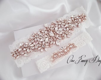 Wedding Garter Set, Bridal Garter set, Lace Garter set, Silver Crystal Garter, Rose Gold Bridal Garter
