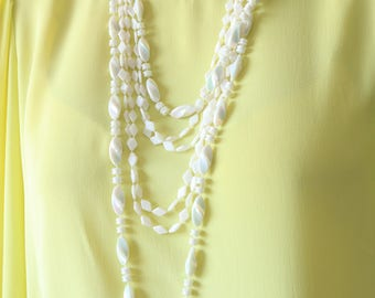 Long White Necklace - Multi Strands Necklace - Beaded Necklace