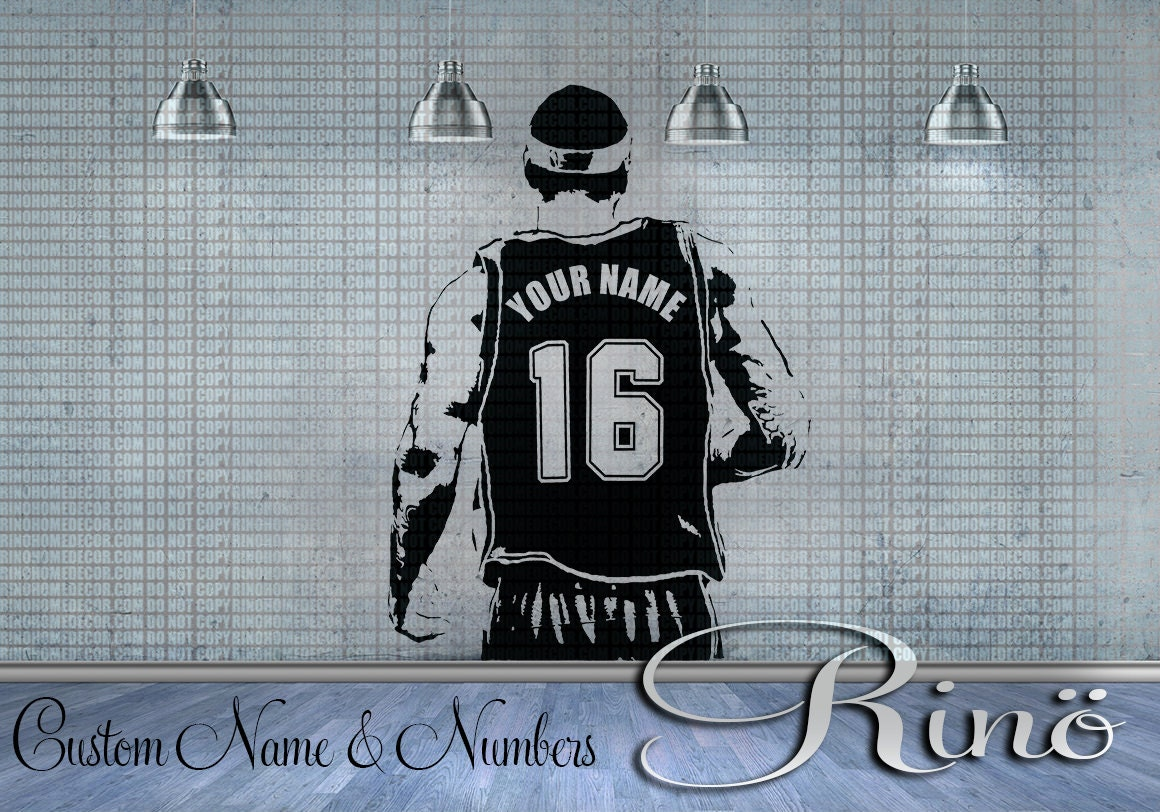 Wall Art Custom Large BASKETBALL Player Choose Jersey Name And - Custom vinyl decals numbers for shirts