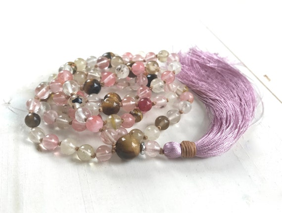 Cherry Quartz Mala Necklace, New Hope Mala Beads, Tiger Eye Mala Beads, Natural Healing Mala Beads, Mala For Meditation, 108 Bead Mala