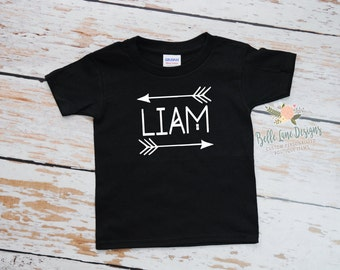 Boy's Tribal Name with Arrow Toddler Black Tshirt | Toddler T shirt with Name | Boy's Name Toddler Tshirt | 050