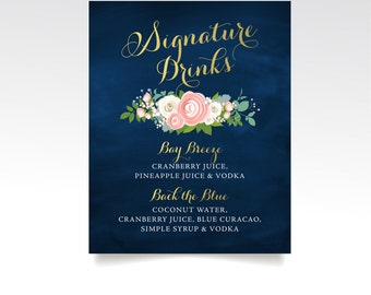 The JENNY . Signature Drinks Wedding Bar Sign . PRINT or PDF . Custom Alcohol Cocktail . Navy Chalkboard Gold Rose Peony Dusty Miller