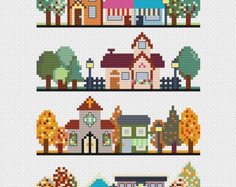 Cute town in four seasons - modern cross stitch pattern - pdf instant download