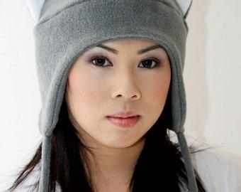 Grey Cat - Cat Ears - Cat Ear Hat - Gray Winter Cat Hat - Snowboarding Hat - Ski Hat - Aviator Cat Hat - Gray Earflap Cat - Anime Cat Hat