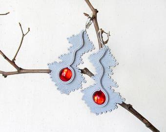 Red gray earrings Gift unique earrings soutache Contemporary jewelry Eco friendly jewelry Modern earrings Wavy jewelry Idea gift for wife