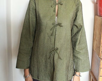Olive Green Quilted Silk Jacket