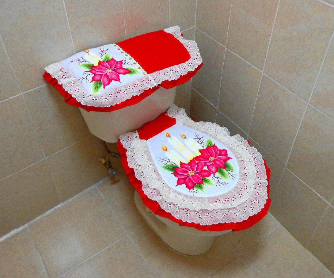 Christmas Seat Cover Bathroom Set Cjristmas Toilet Flowet Poinsettia