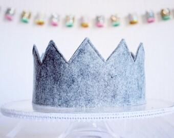 Full Felt Crown || Full Birthday Hat with Ribbon Tie Back || Kids Birthday Gift || Gray