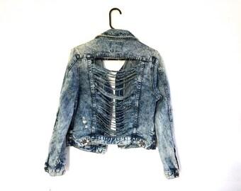 Distressed Jean Jacket // Distressed Denim Jacket // Ripped Acid Wash Jean Jacket