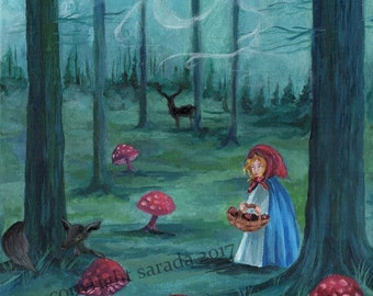 Haunted Mushroom Forest folk horror painting fairytale girl storybook original fantasy art, black reindeer, fox, rabbit, ghosts witch woods