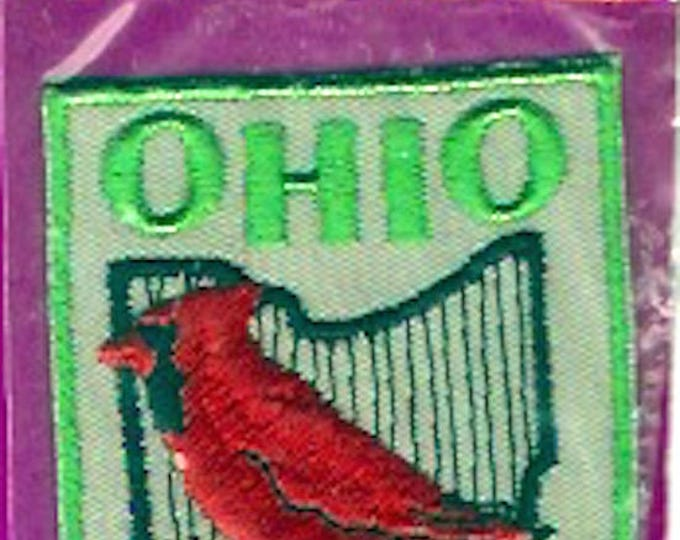 Ohio state Bird patch vintage red Cardinal embroidered badge Voyager iron on badge clothing sewing supply Stage Souvenir USA