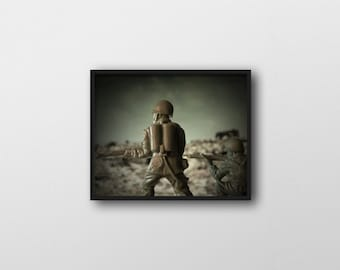 WAR GAMES NO.4 | Military home decor | macro miniature toy photography art print | pop surrealism inspired art print | toy soldier wall art