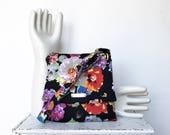Black Cross Body Bag -BLACKBERRY SANGRIA by jennjohn- Black, red, orange, designer floral/ flower fabric, adjustable strap