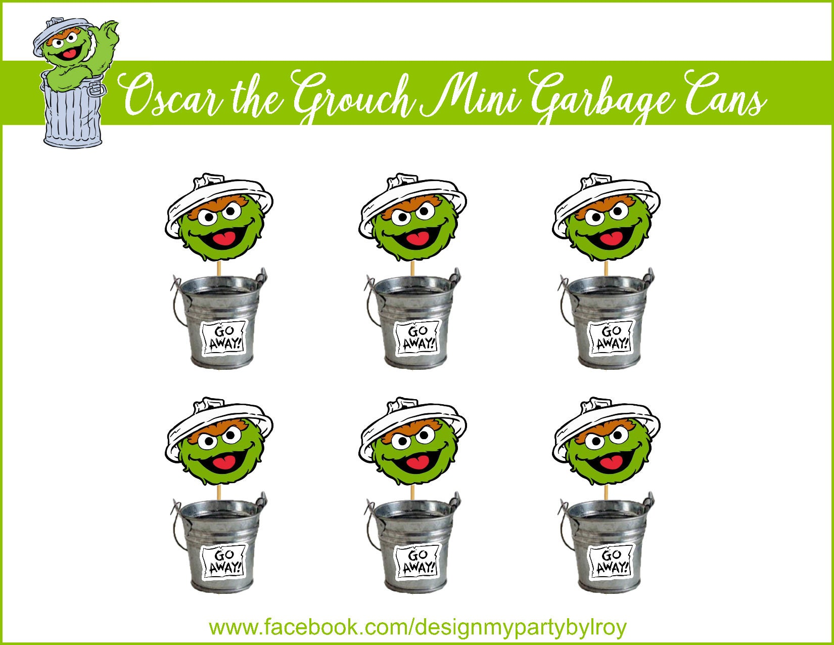 6 oscar the grouch mini trash cansoscar the grouch party