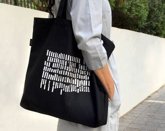 black tote bag black and white market bag large tote bag vegan bag - Large Tote Bags