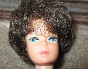 Vintage MIDGE DOLL - 1962 Mattel - Brunette Bubble Cut - Blue Eyes - Good Condition