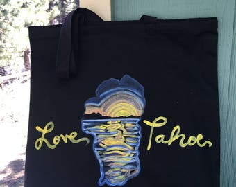 """Hand Painted """"Love Tahoe"""" Black Cotton Canvas Tote Bag"""