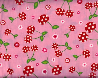 BTY Robert Kaufman PICNIC PARTY Cherries on Pink Print 100% Cotton Quilt Craft Fabric by the Yard