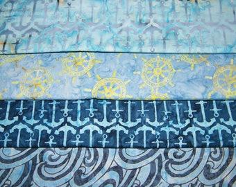 4 FQ Bundle – Timeless Treasures Oceana Tonga Batik NAUTICAL Prints 100% Cotton Quilt Craft Fabric Fat Quarters