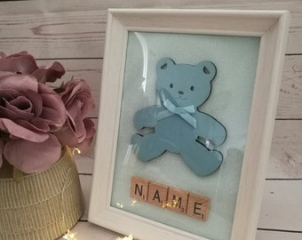 Personalised baby picture frame ~ teddy bear ~ nursery decor ~ new baby