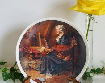 Norman Rockwell Collector's Plate, Mother's Day 1979, Vintage Collectible Plate, Rockwell Plate, Gift Giving, Edwin Knowles, Plate 07886D