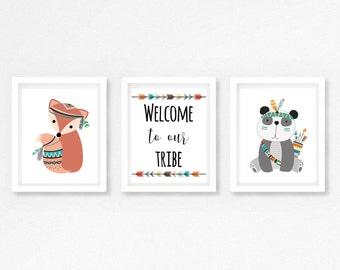 Tribal Nursery Decor, Boho Nursery Wall Art, Tribal Wall Art, Boho Nursery Decor, Woodland Animal Nursery Print, Tribal Baby Shower Gift