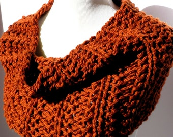 SALE Rust Scarf - Hand Knit Scarf - Infinity Scarf - Burnt Orange Scarf - Chunky Scarf - Pumpkin Color Scarf - Circle Scarf - Cowl Scarf
