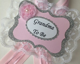 Pink and silver Grandma to be corsage/Pink and silver babe shower corsage/Guests pins/Girl baby shower corsage