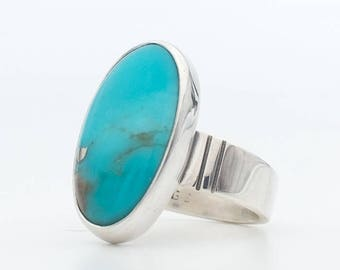 Turquoise Ring, Morenci Turquoise, Inspiration Gem Silica, Sterling Silver, Handmade Jewelry, Modern Jewelry, Southwestern Jewelry, Bohemian