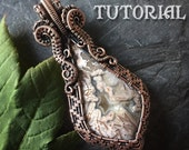 TUTORIAL - Seahorse Swirls Pendant - Wire Wrapping - Jewelry Pattern Kite, Square, Fan, Round, Oval Cabochon Wire Wrapped - Lesson - Class