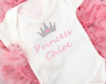Personalised baby vest, Princess Vest, Baby Girl, New baby gift, Baby Shower, Easter Gift, Made in the UK