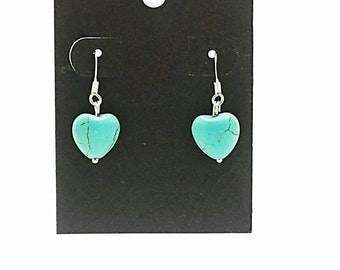 Turquoise heart earrings, gemstone earrings, blue earrings, dangle heart earrings, western earrings, hypoallergenic, sensitive