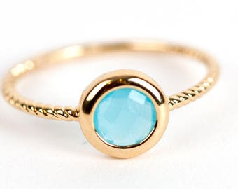 Gold Plated, Stacking Stackable Ring, Color Stone Ring, Gold Fill Ring, Stacking ring with stone, Boho ring