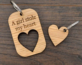 A Girl Stole My Heart Valentines Day Love Keyring Present for Girlfriend