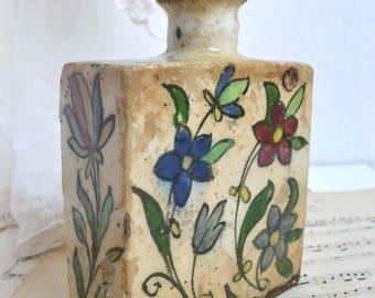 Antique Persian Floral Polychrome Bottle & Stopper Rustic Ceramic Tea Flask Primitive Middle Eastern Qadjar 18 Century
