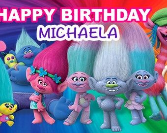 Birthday banner Personalized 4ft x 2 ft Trolls