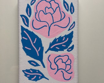 Rose painting canvas 6x4""