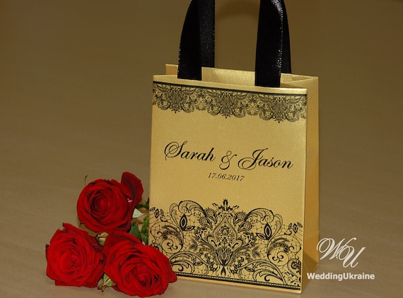 Small Wedding Gift Bags: Gold Wedding Gift Bags For Small Souvenirs Personalized