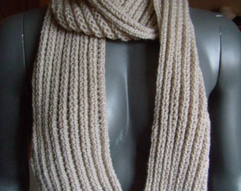 Scarf, infinity, snood, knitted hand, sides, Openwork, beige, cowl, scarf, made hand