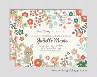 Bunny Birthday Party Invitation 1, Customized, Digital File
