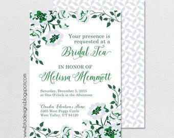 Flower Bridal Tea Party Invitation 2, Bridal Shower Invitation Customized, Digital File